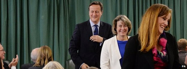 David Cameron with the two contenders to be Tory candidate in Rochester and Strood