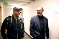 Arturo Hernandez Garcia stands next to pastor Mike Morran in the basement of the First Unitarian Church of Denver in Denver on Monday, Oct. 27, 2014.