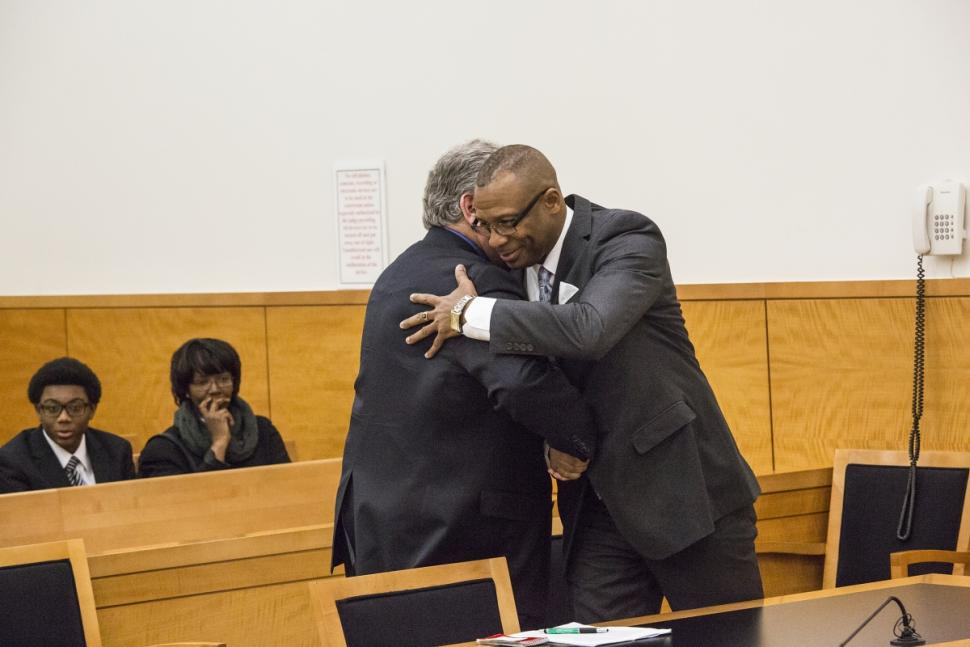 A review showed there was hardly any evidence a burglary took place to begin with and Taylors account wasnt supported by any physical evidence. Waithe is seen here hugging Mark Hale of the Brooklyn District Attorney's office.