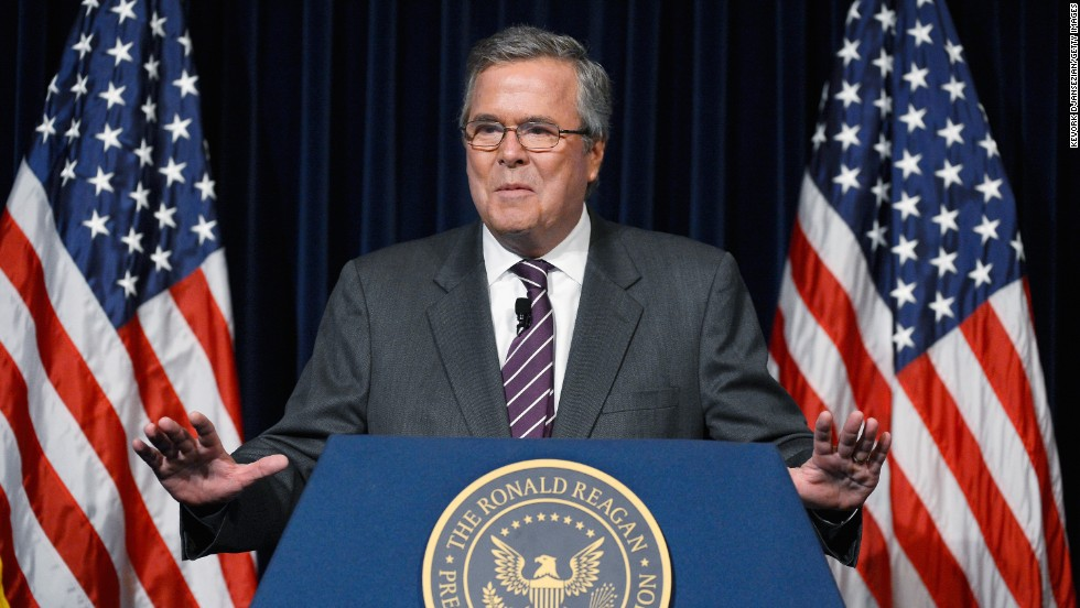 Former Florida Gov. Jeb Bush has said his decision to run for the Republican nomination will be based on two things -- his family and whether he can lift America's spirit. His father and brother formerly served as President.