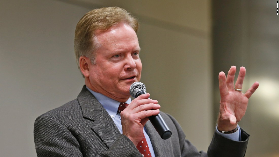 Former US Sen. Jim Webb, D-Va., gestures during a talk at the AP Day at the Capitol in Richmond, Va., Wednesday, Dec. 3, 2014.
