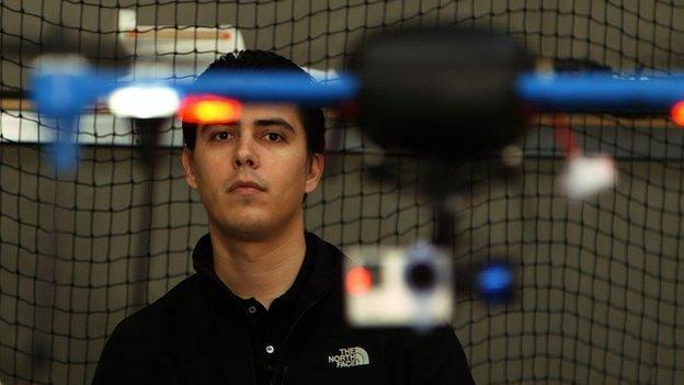 Jordi Munoz flying one of his drones