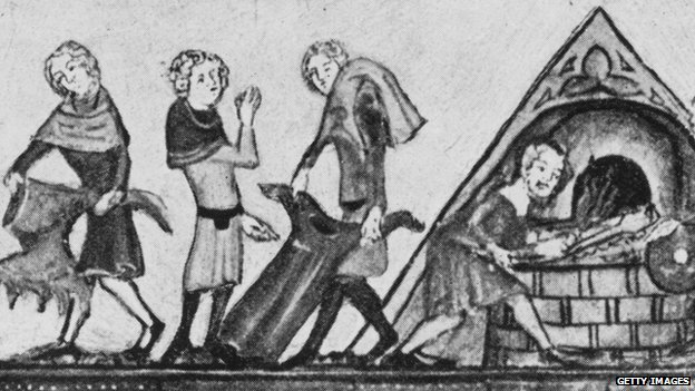 Clothes infected by the Black Death being burnt in medieval Europe, circa 1340.