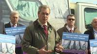 UKIP leader Nigel Farage launching campaign poster at event in Dover, Kent
